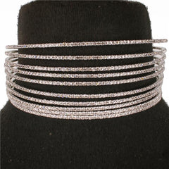 "14"" crystal 10 row cuff choker collar necklace multi strand bridal prom"