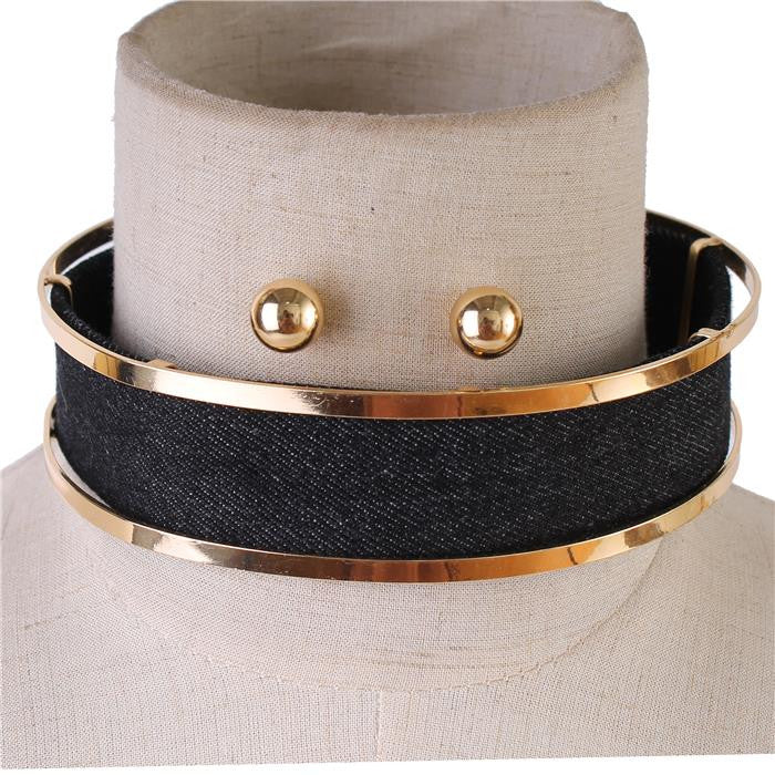 "13"" gold jean denim choker collar bib necklace earrings"