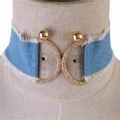 "14"" gold crystal blue jean denim choker collar bib necklace earrings"