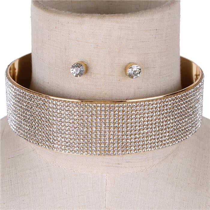 "15"" crystal layered collar choker necklace .50"" earrings 1.50"" wide bridal"