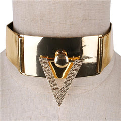 "14.50"" gold faux leather door knocker boho bib collar choker necklace 1.50"" wide"