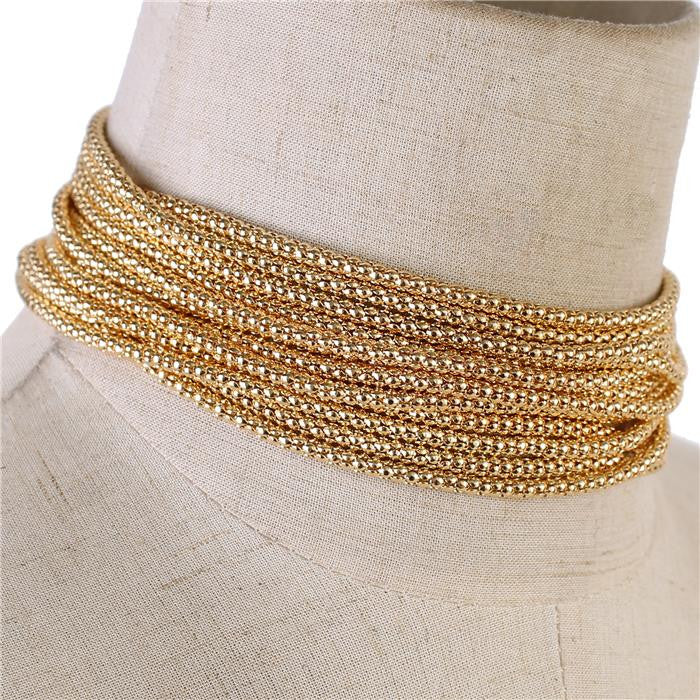 "12"" gold multi row layered choker collar bib necklace"