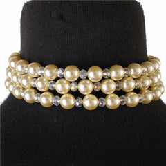 "14"" cream pearl 3 row multi layered choker collar bib necklace"
