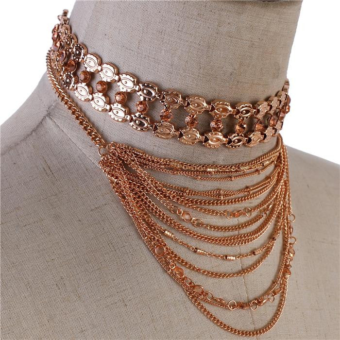 "12"" rose gold multi layered tiered collar bib necklace 2 piece"