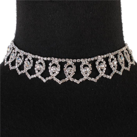 "14"" silver crystal heart choker collar necklace .80"" wide bridal prom pageant"