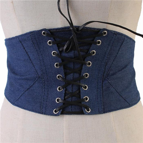 "30"" waist blue jean denim corset belt 6"" wide elastic stretch snap back"