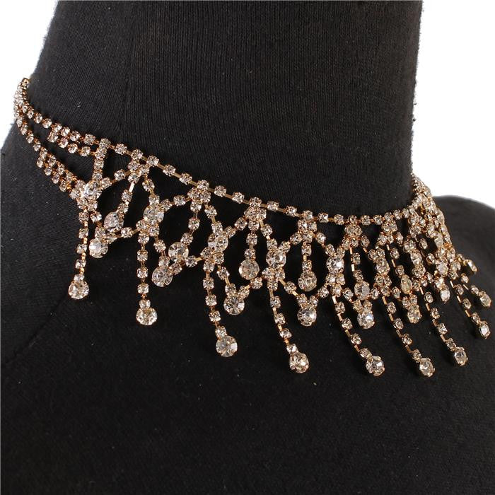 "12"" crystal 1.80"" drop choker necklace bridal prom"