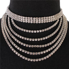 "14"" crystal multi layered choker necklace 4"" drop bridal prom"