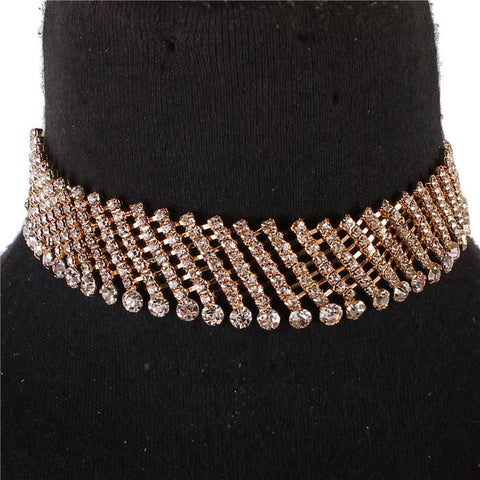 "12"" crystal lines choker collar necklace 1"" wide bridal prom pageant"