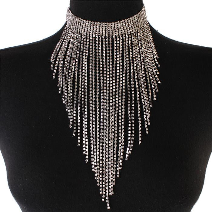 "14"" clear crystal silver drop tassel fringe collar choker necklace 8"" drop"
