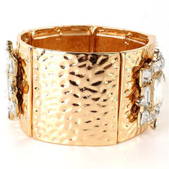 "1.80"" side gold crystal stretch cuff bangle bracelet"