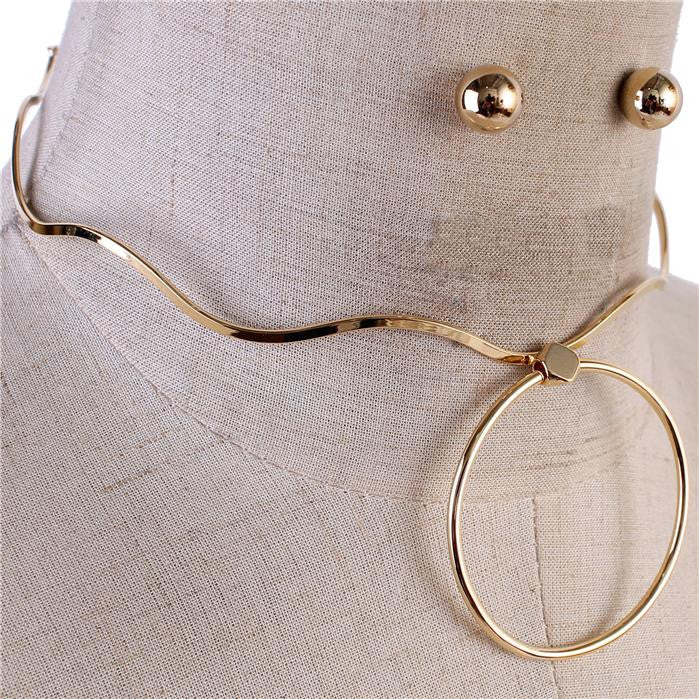 "14"" circle pendant choker bib collar necklace .25"" earrings"