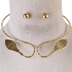 "14"" leaf choker collar necklace .50"" earrings"