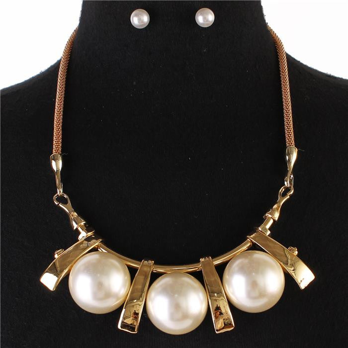"16"" pearl balls pendant statement mesh snake chain necklace .50"" earrings"