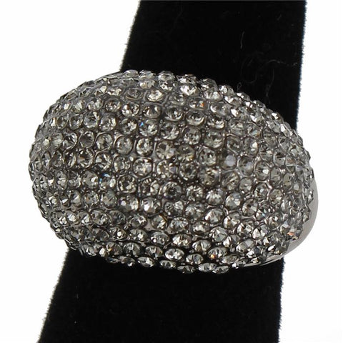 ".90"" crystal pave cocktail stretch dome ring"
