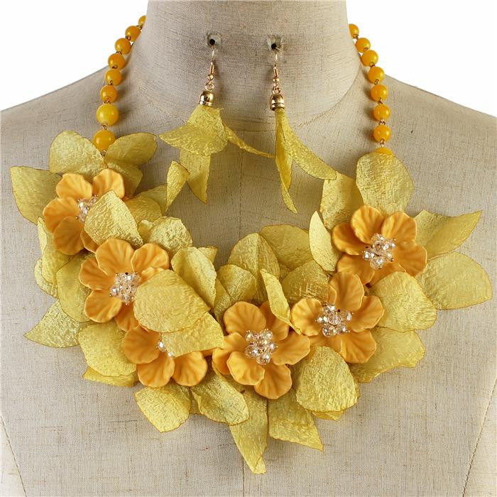 "17"" floral crystal bib necklace 2"" earrings"