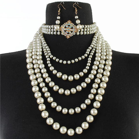 "13"" crystal faux pearl layered multi strand choker collar necklace 1.25"" earrings"
