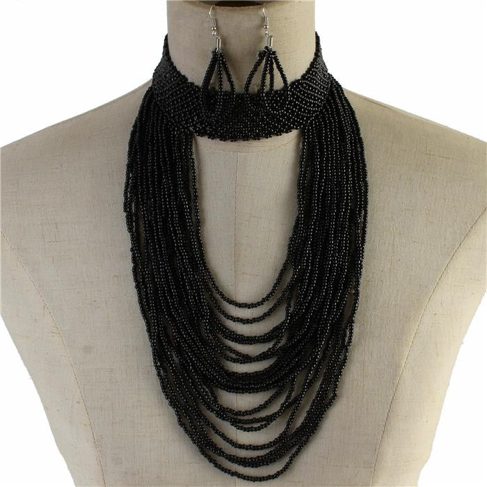 "16"" gray seed bead collar choker bib Necklace 3"" earrings Jewelry body chain"