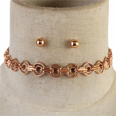 "13"" rose gold layered chain choker collar bib necklace .25"" earrings"