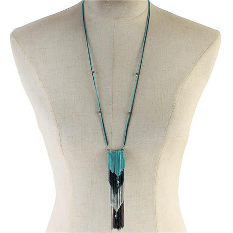 "40"" multi layered 6"" chain tassel fringe necklace"
