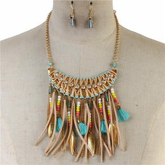 "18"" turquoise crystal fringe tassel boho necklace .75"" earrings 3.75"" drop"