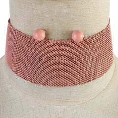 "14"" metal mesh choker collar bib necklace .25"" earrings 1.50"" wide"