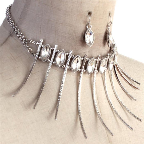 "14"" silver crystal 3"" spike bar necklace 1"" earrings"