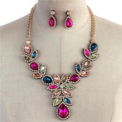 "16"" multi crystal drop necklace 1.40"" earrings bridal prom"