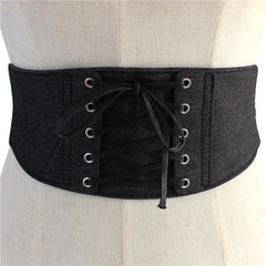 "28"" waist jean denim corset belt 4.90"" wide elastic stretch snap back"