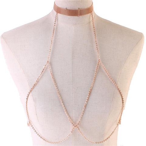 "14"" rose gold choker collar necklace bra body chain swim suit bikini"