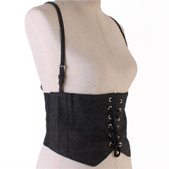 "31"" black denim cinch corset belt 8"" wide suspender stretchable"