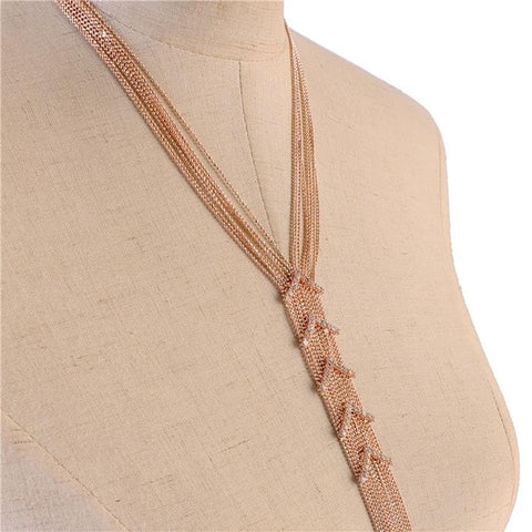 "19"" rose gold crystal multi layered 10"" tassel fringe necklace .15"" earrings"