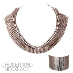 "14"" gold sequin mesh choker necklace 2 ways to wear"