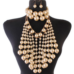 "17"" faux pearl fringe tassel multi strand choker bib necklace earrings 2 piece"