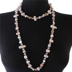 "24"" semi natural stone crystal bead necklace"