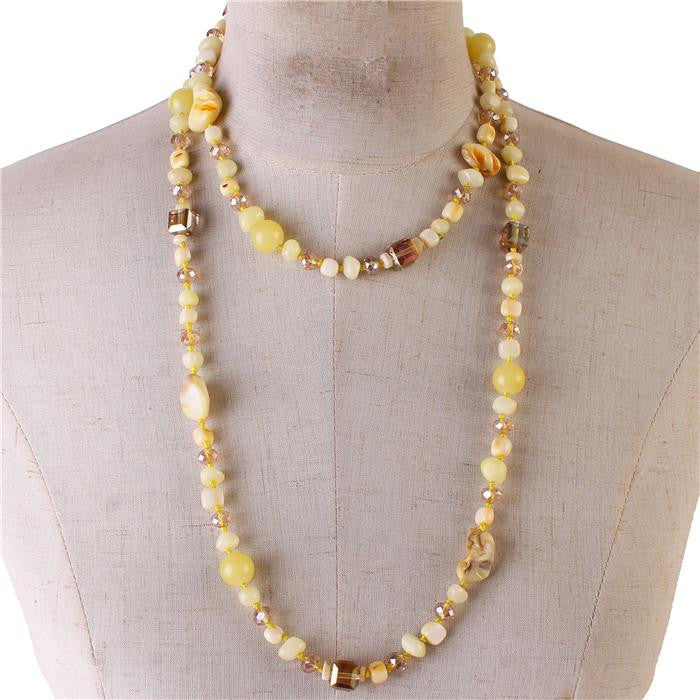 "25"" natural stone crystal bead necklace"