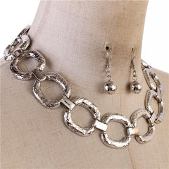 "15"" silver hammered link choker collar bib necklace 1.50"" earrings 1.20"" wide"