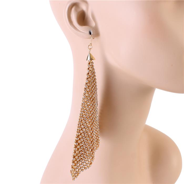 "6"" gold crystal mesh dangle earrings"