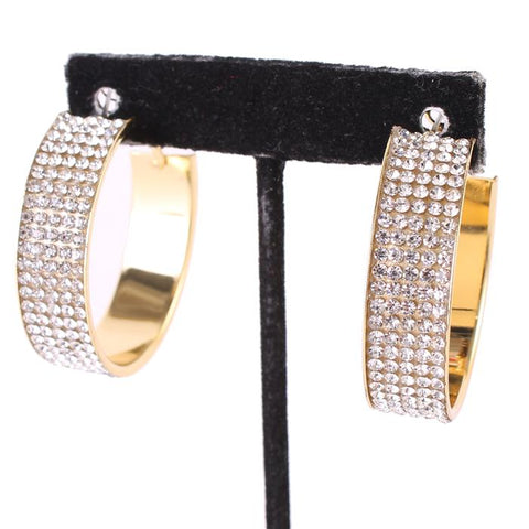 "1.70"" gold crystal small hoop pierced earrings bridal prom pageant"