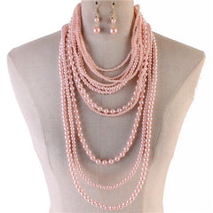 "18"" faux pearl layered choker collar bib necklace 1.50"" earrings 8"" drop"
