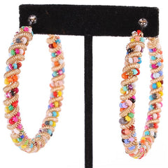 "2.50"" multi bead twisted hoop boho pierced earrings"