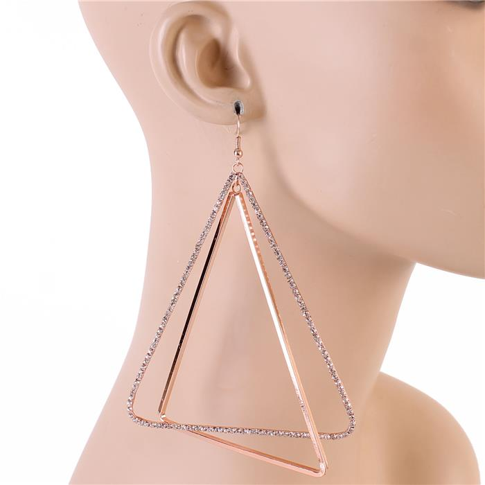 "5"" rose gold crystal triangle large pierced earrings"