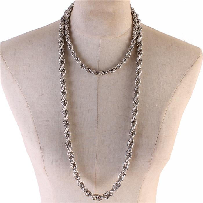 "34"" silver twisted double chain choker necklace"