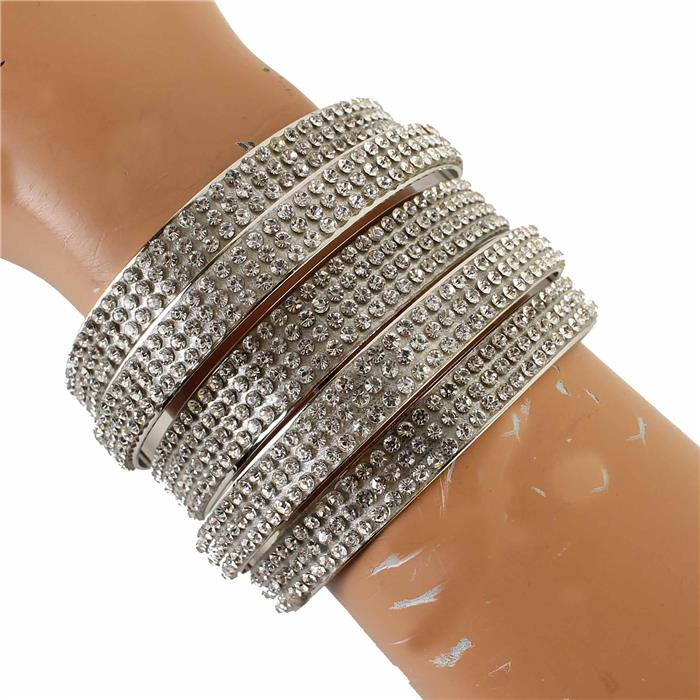 "7.50"" silver crystal bracelet bangle cuff 2"" wide"