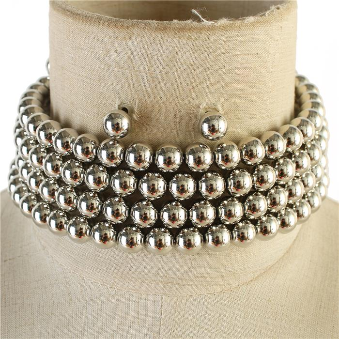 silver faux pearl wrap adjustable collar choker necklace statement earrings