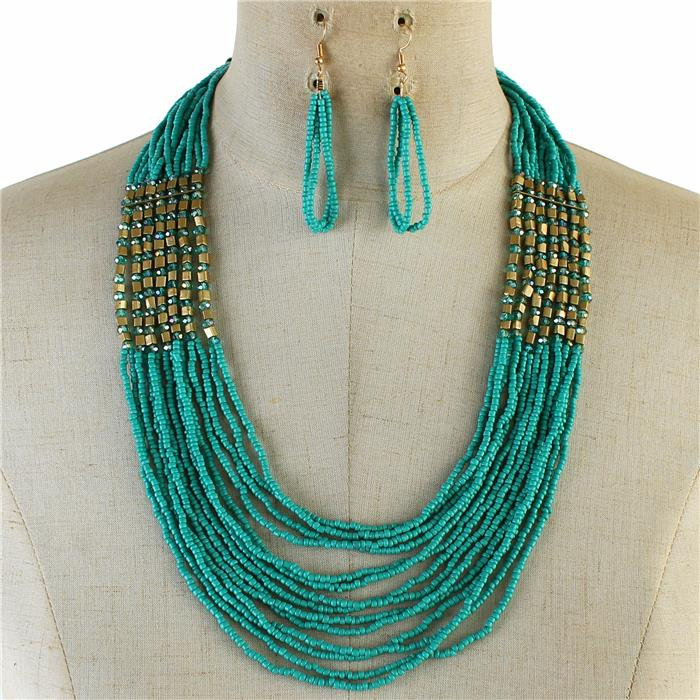 "21"" seed bead layered boho necklace 2.50"" earrings"