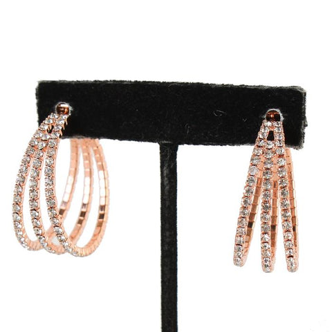 "1.50"" rose gold crystal 3 layer hoop pierced earrings prom bridal"