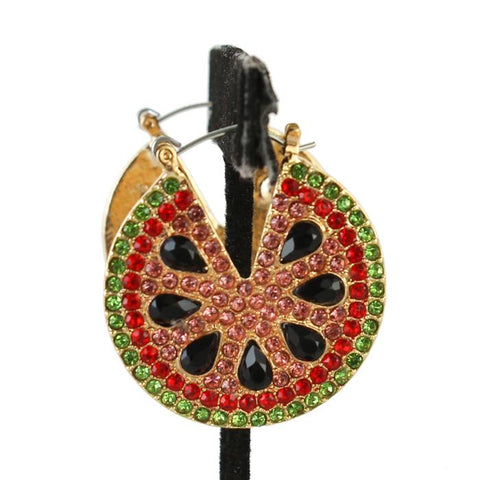 "1.50"" crystal watermelon pierced earrings basketball wives"