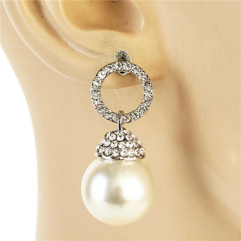 "1.20"" silver crystal faux pearl dangle pierced earrings"