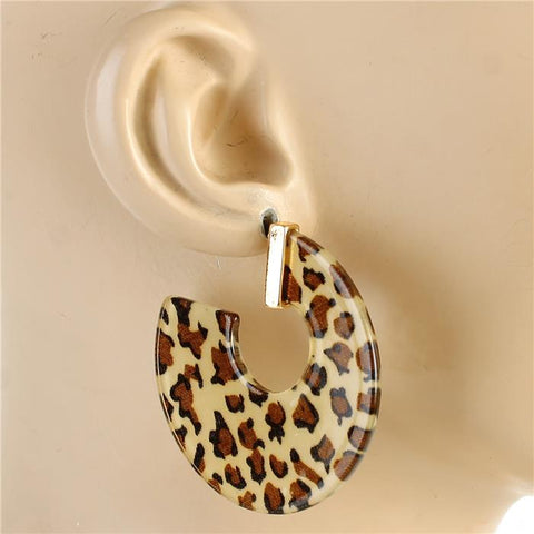 "2"" acrylic leopard earrings pierced"